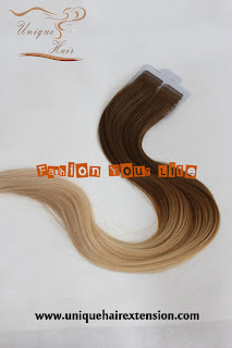 Balayage tape weft extensions