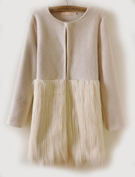 Romwe Panel Faux Furry White Coat