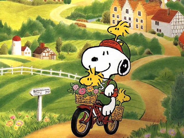 Wallpaper Paseo de Snoopy en Bicicleta