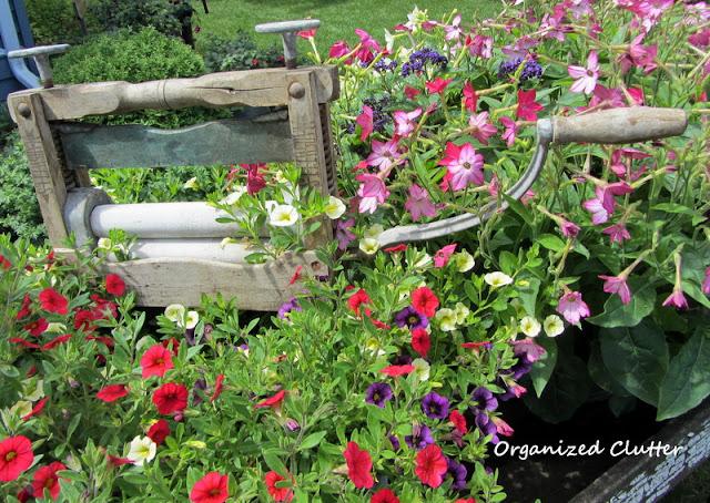 Wheelbarrow Laundry Themed Container Garden Vignette
