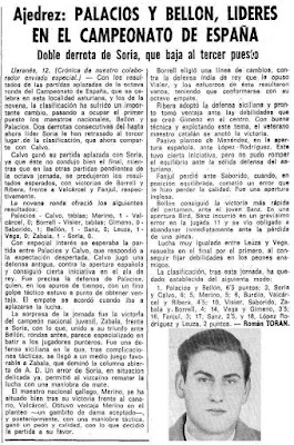 Recorte de prensa en La Vanguardia  sobre el XXXV Campeonato Individual de España de Ajedrez, Llaranes-Avilés 1970