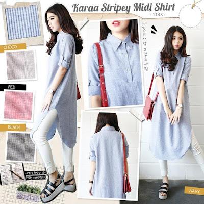 Atasan Karaa Stripey Midi Shirt - 10430