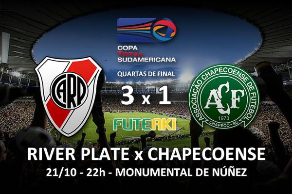 Veja o resumo da partida com os gols e os melhores momentos de River Plate3x1 Chapecoense pelas quartas de final da Copa Sul-Americana 2015.