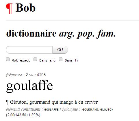 capture d'écran du site Bob (dictionnaire argot)