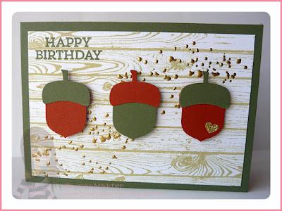 Stampin' Up! Rosa Mädchen Geburtstagskarte mit Hardwood, Eichelstanze und Hey You