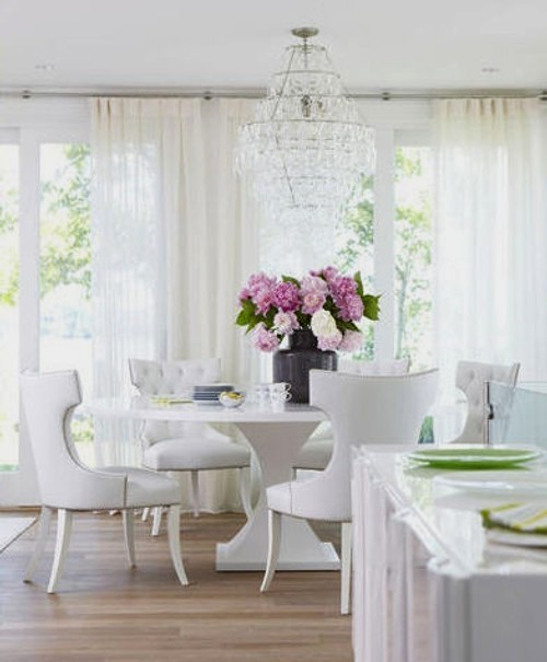 beautiful room - traditional style white dining room with hot pink accents