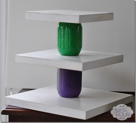 http://www.justusfourblog.com/2013/08/mason-jar-crafts-rainbow-cupcake-stand-craftyjars/