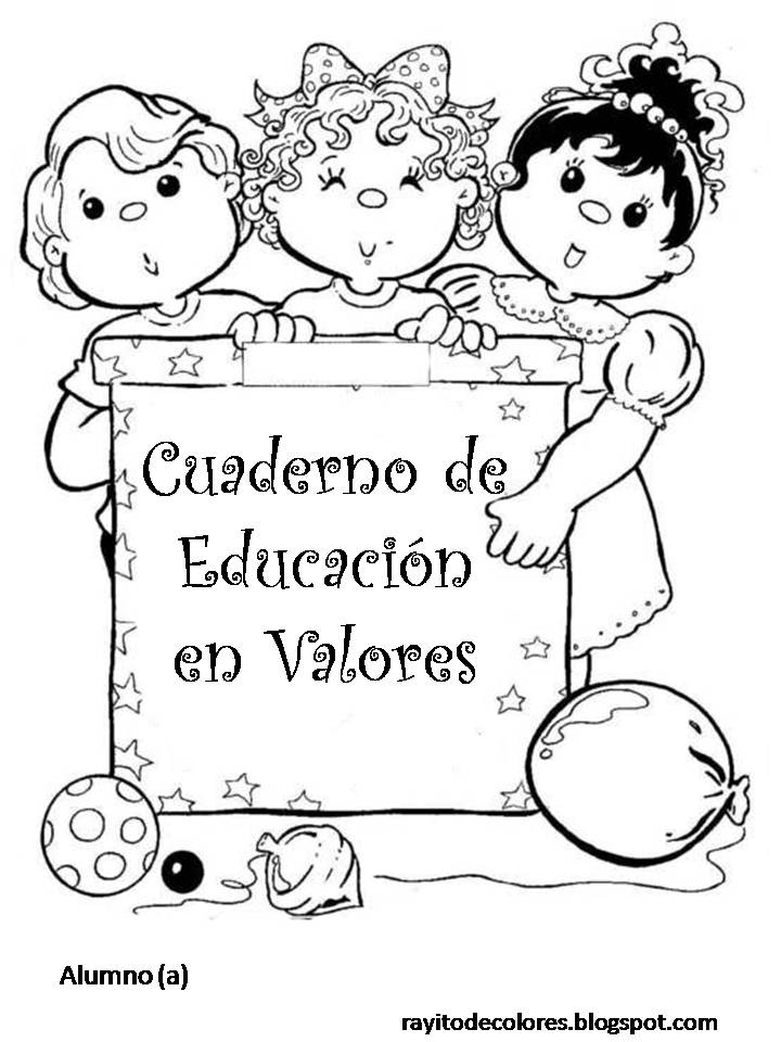 Carátula para cuaderno de Educación en valores
