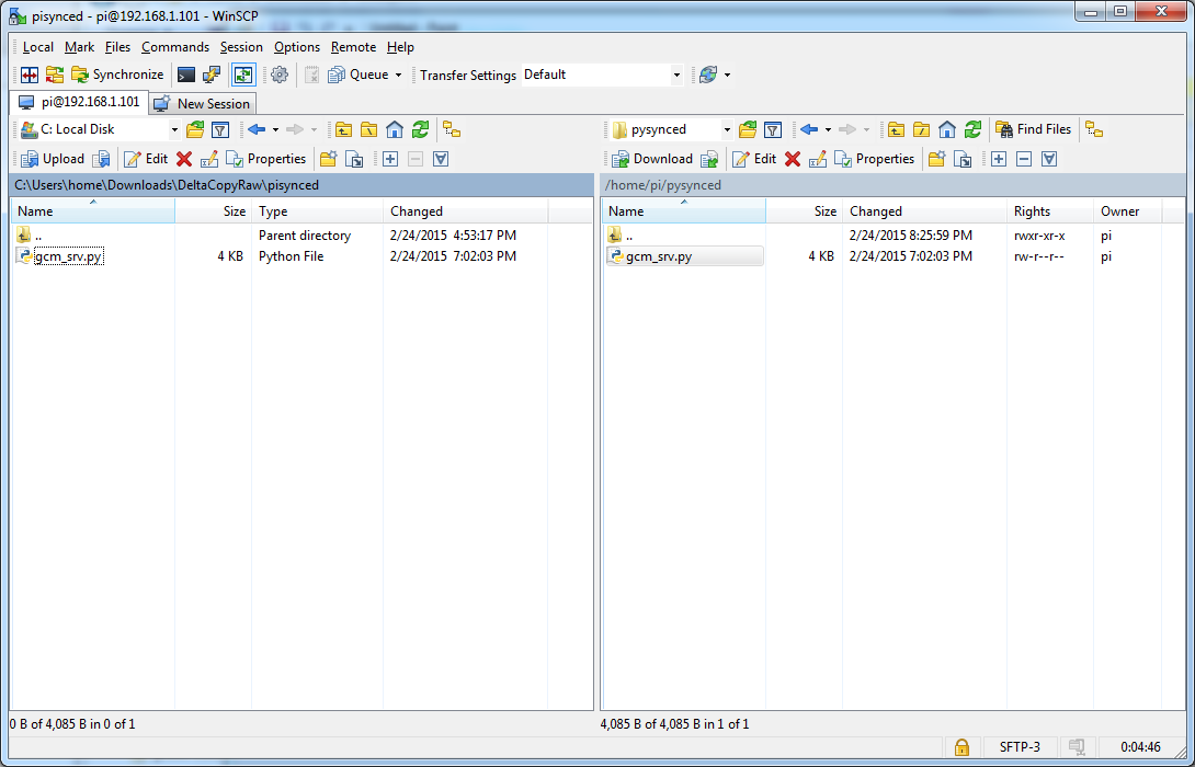 Explorer view(WinSCP) - Transferring files between Windows 7 PC and Raspberry Pi