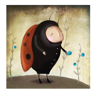 ladybug collecting blueberries, katica bogár áfonyát szed