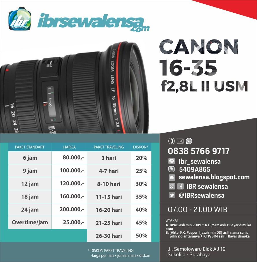Canon 16-35mm f2.8 L II USM Harga Sewa Rental Lensa Kamera