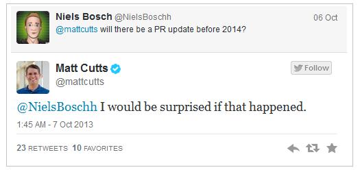 tidak akan ada update pagerank sampai akhir 2013