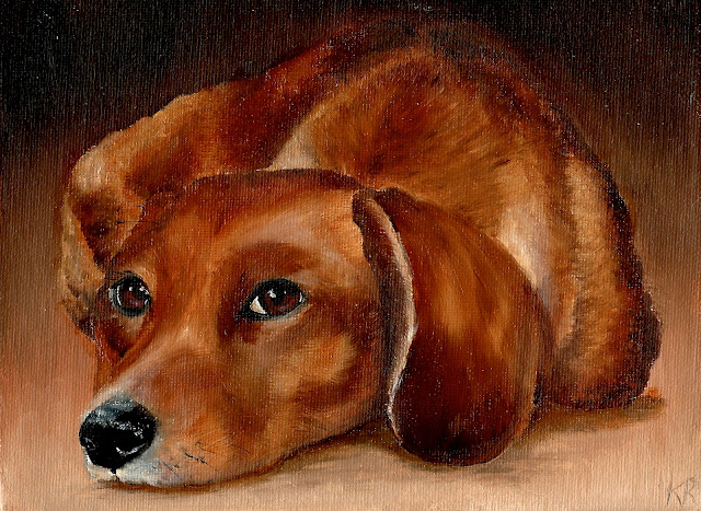 golden dachshund painting