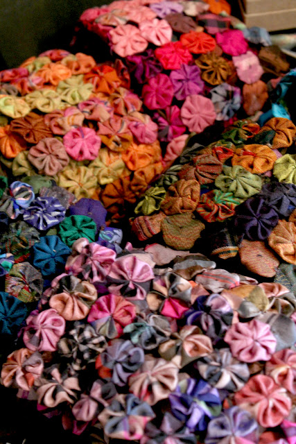 colorful fabric yoyo scarves - B. On Main