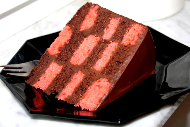 Slice of homemade checkered cake