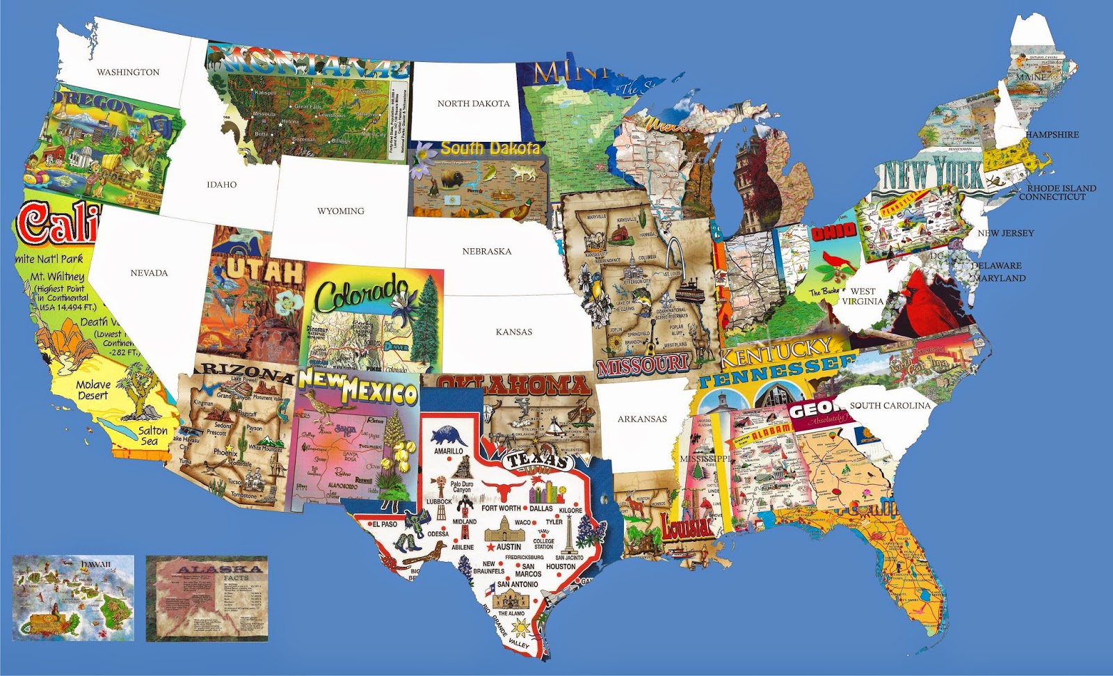 US Map made out of State Map Postcards