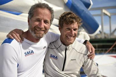 Paul Meilhat et Michel Desjoyeaux sur la Jacques Vabre.