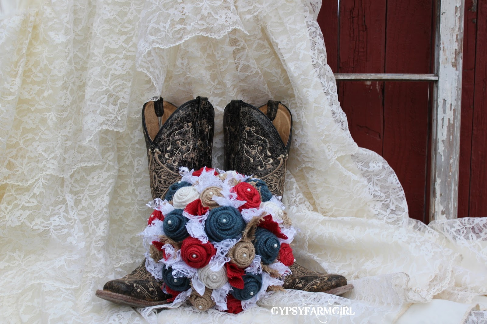 Gypsyfarmgirl Made In America Red White And Blue Burlap Bouquets