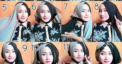 Kumpulan Cara Memakai Hijab Segi Empat Tumpuk ~ Tutorial Hijab Modern