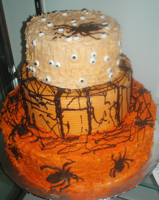 Halloween Cake with Spiders