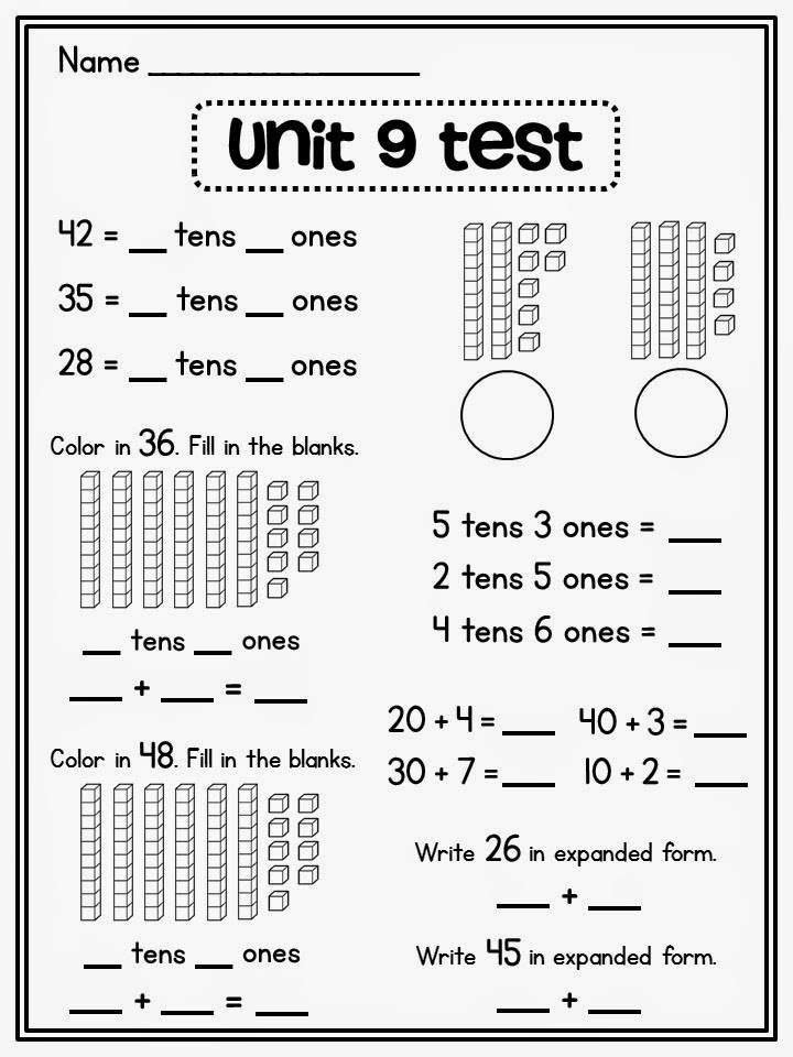Miss Giraffes Class Place Value in First Grade – First Grade Place Value Worksheets