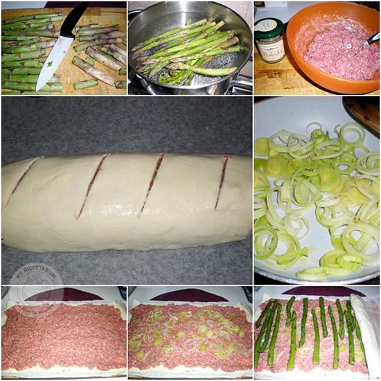 Strudel con asparagi e carne macinata