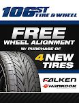 buy 4 new or used tires, get a FREE wheel alignment