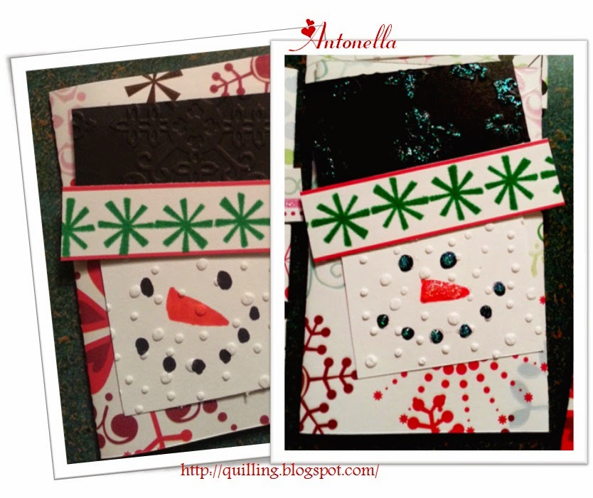 Super cute and easy to make Snowman gift card tutorial from Antonella at www.quilling.blogspot.com