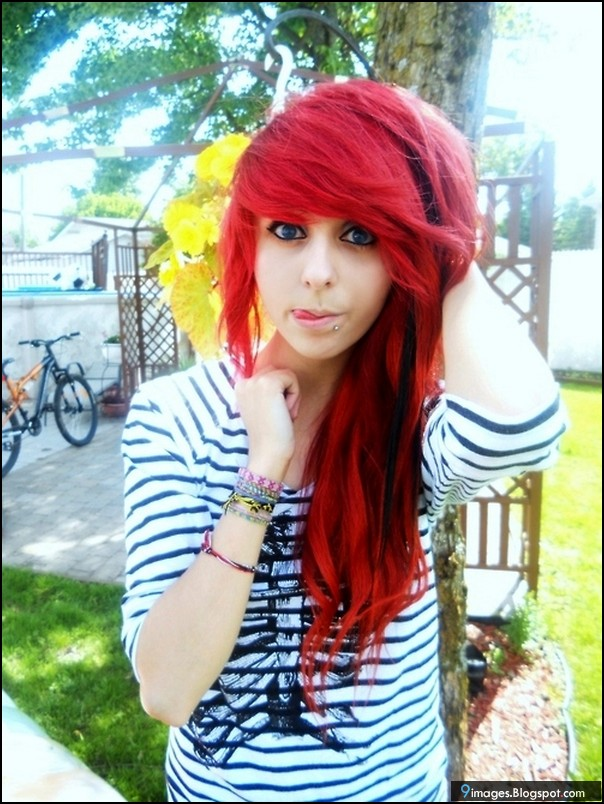 hair Cute scene red girl with