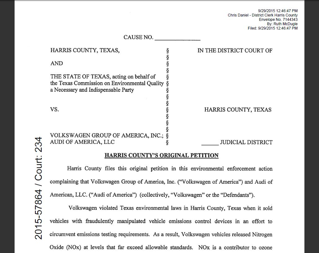 Houston courts cases 2015 harris county files suit to cash in on volkswagen emissions test scandal and here is a copy of the complaint 1betcityfo Images
