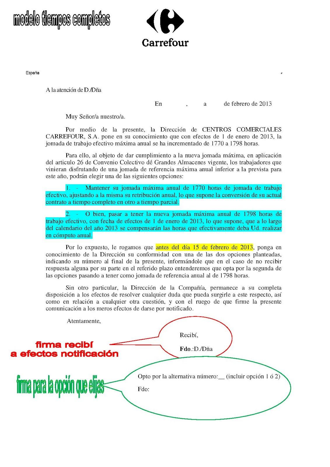 Carrefour Ugt Modelos De Carta Para Adecuaci N De Jornada