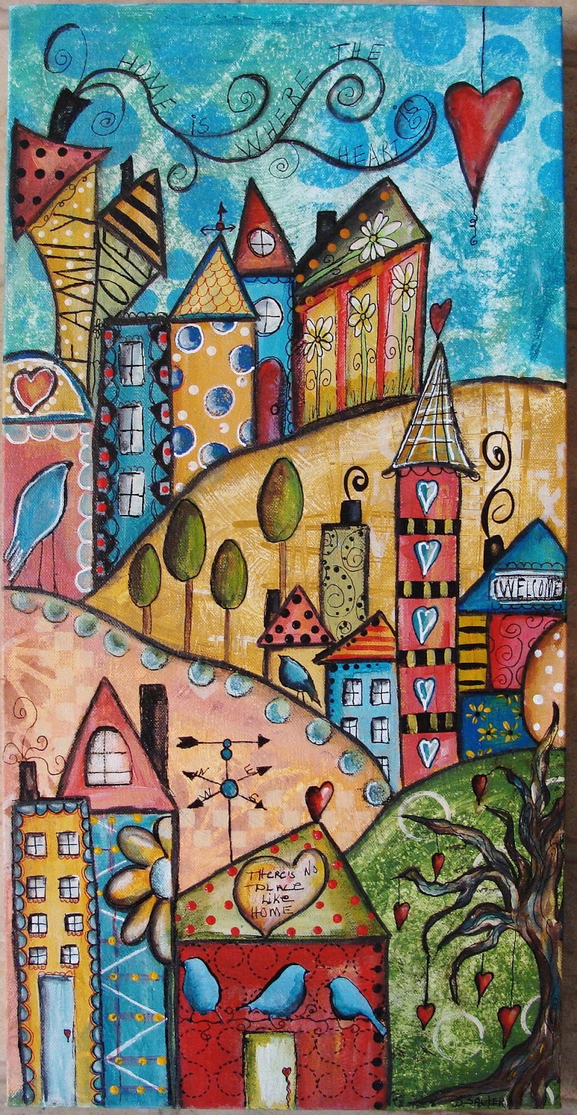 My art journal my funky little city scapes with jodi ohl for Funky house artists