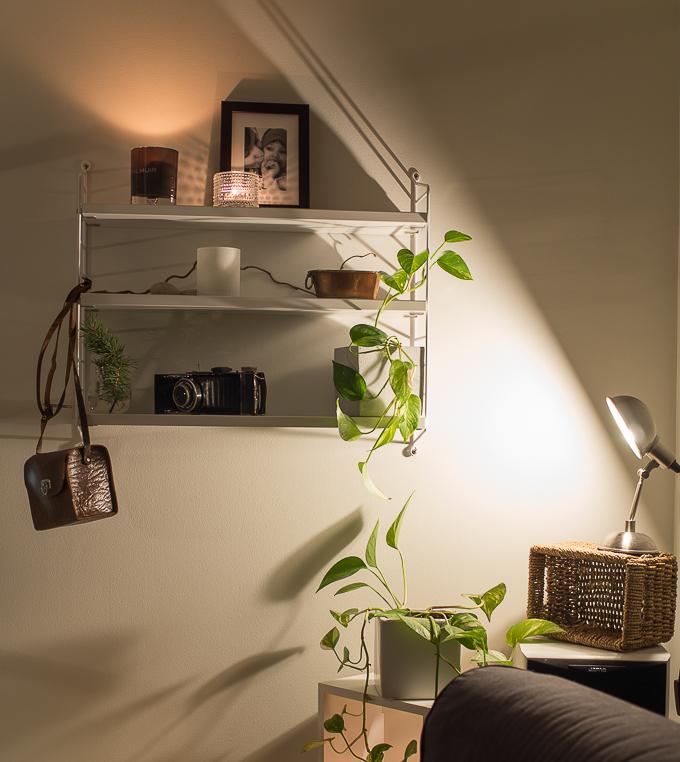 string hyllylle, mitä laittaisi, habitat valaisin tommy, string pocket olohuoneessa asetelma