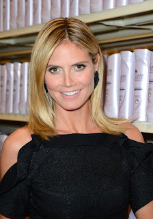 Heidi Klum Long Straight Center Part Hairstyle