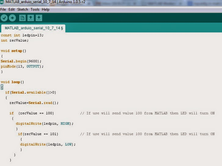serial communication of arduino with matlab I'm trying to setup serial communication between matlab and an arduino as a test i have a logical input to the arduino (it can be either 0 or 1.