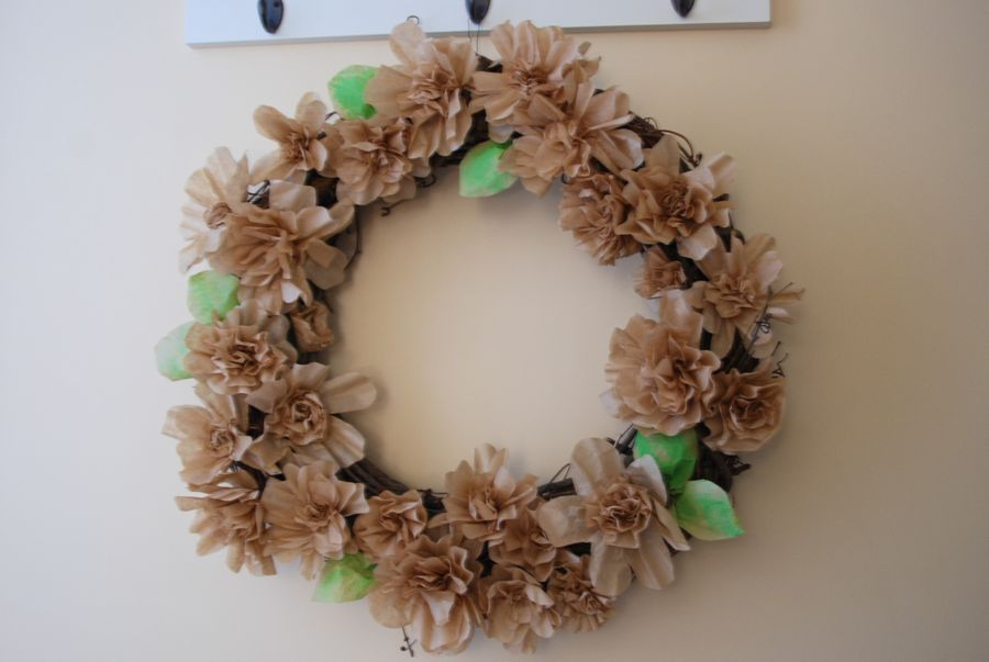 Large coffee filter wreath in the hallway.