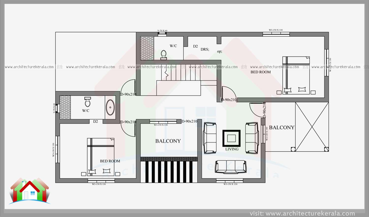 Double Storied Four Bedroom House Plan And Elevation