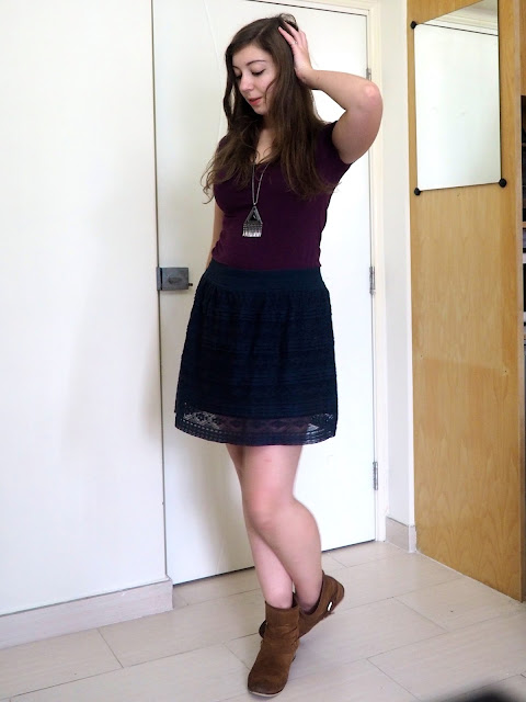 Shades of Midnight | outfit of purple t-shirt, dark blue lace skirt and brown suede ankle boots