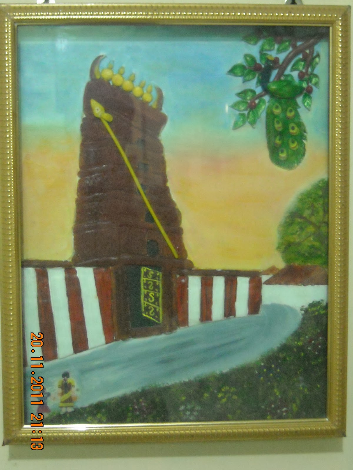 Orchids arts and craft gallery in palakkad temple mural for Arts and crafts mural