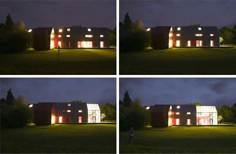 Desplazamiento de la fachada por la noche