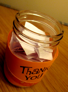 Nearly full thank you jar