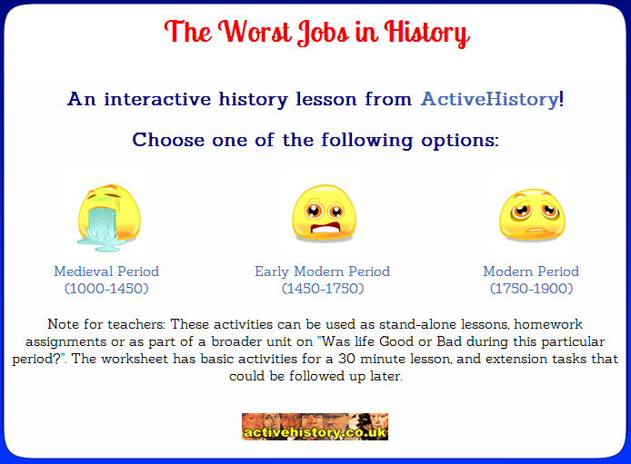 Free Technology for Teachers Dirty Jobs of the Middle Ages – Middle Ages Worksheets