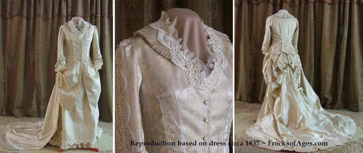 Imperial Victorian Wedding Gown modelled on 1837 dress found at Frocks of
