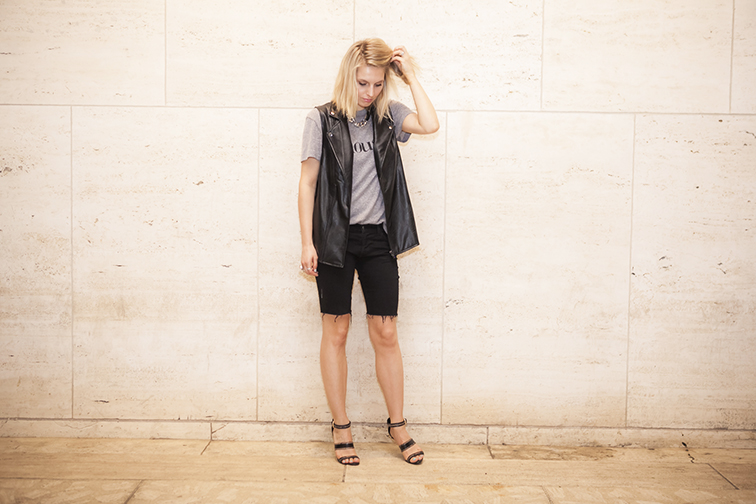Black and grey, motorcycle rock 'n roll style, sleeveless leather vest, J Brand, Mink Pink Chrldr, Jason Wu, MIMO Market Miami