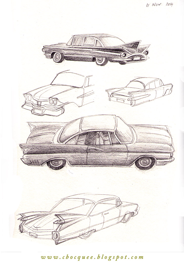 drawings of 1960s cars with tailfins & fender skirts