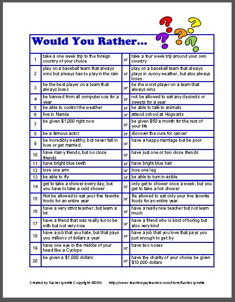 Download these 20 Would You Rather Questions for free Questions List For Getting To Know You