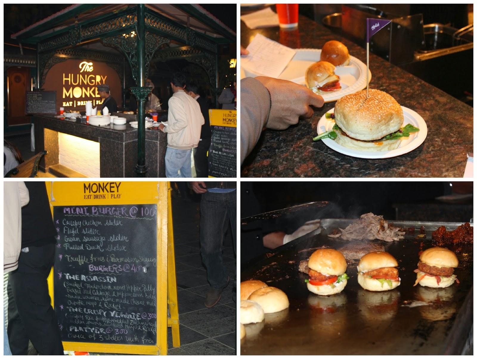 burger, hungry monkey, slider, duck, suasages, delhi, tivoli garden resort
