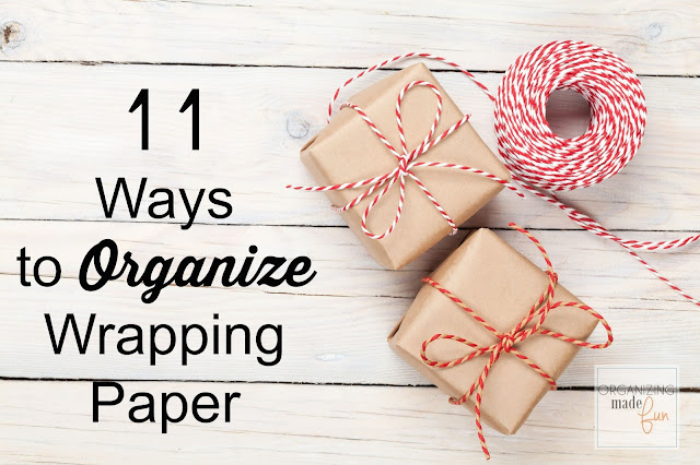 11 Ways to organized wrapping paper and gift wrapping stations :: OrganizingMadeFun.com