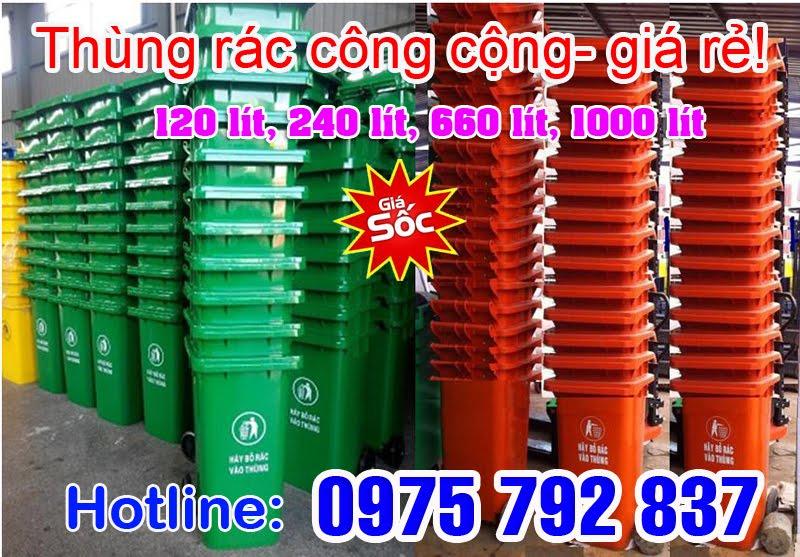 Thanh lý Thùng rác công nghiệp 120 lít, 240 lít, 660 lít, siêu rẻ (Lh 0975 792 837)
