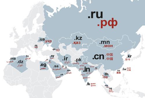 Mapa por país de las extensiones de nombres de dominio internacionalizados